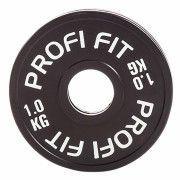 Диск для штанги каучуковый, черный, PROFI-FIT D-51,  1,0 кг